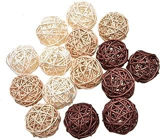 Pomeat 15pcs Wicker Rattan Balls Decorative Orbs Spherical Natural Woven Vase Filler, Balls Spheres Orbs Filler