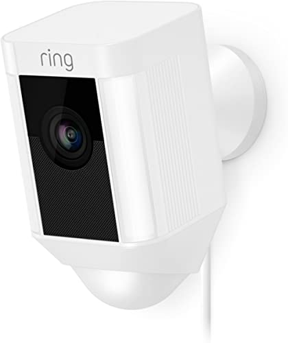 Ring Spotlight Cam Wired: Plugged-in HD security camera with built-in spotlights, two-way talk and a siren alarm, Whi...