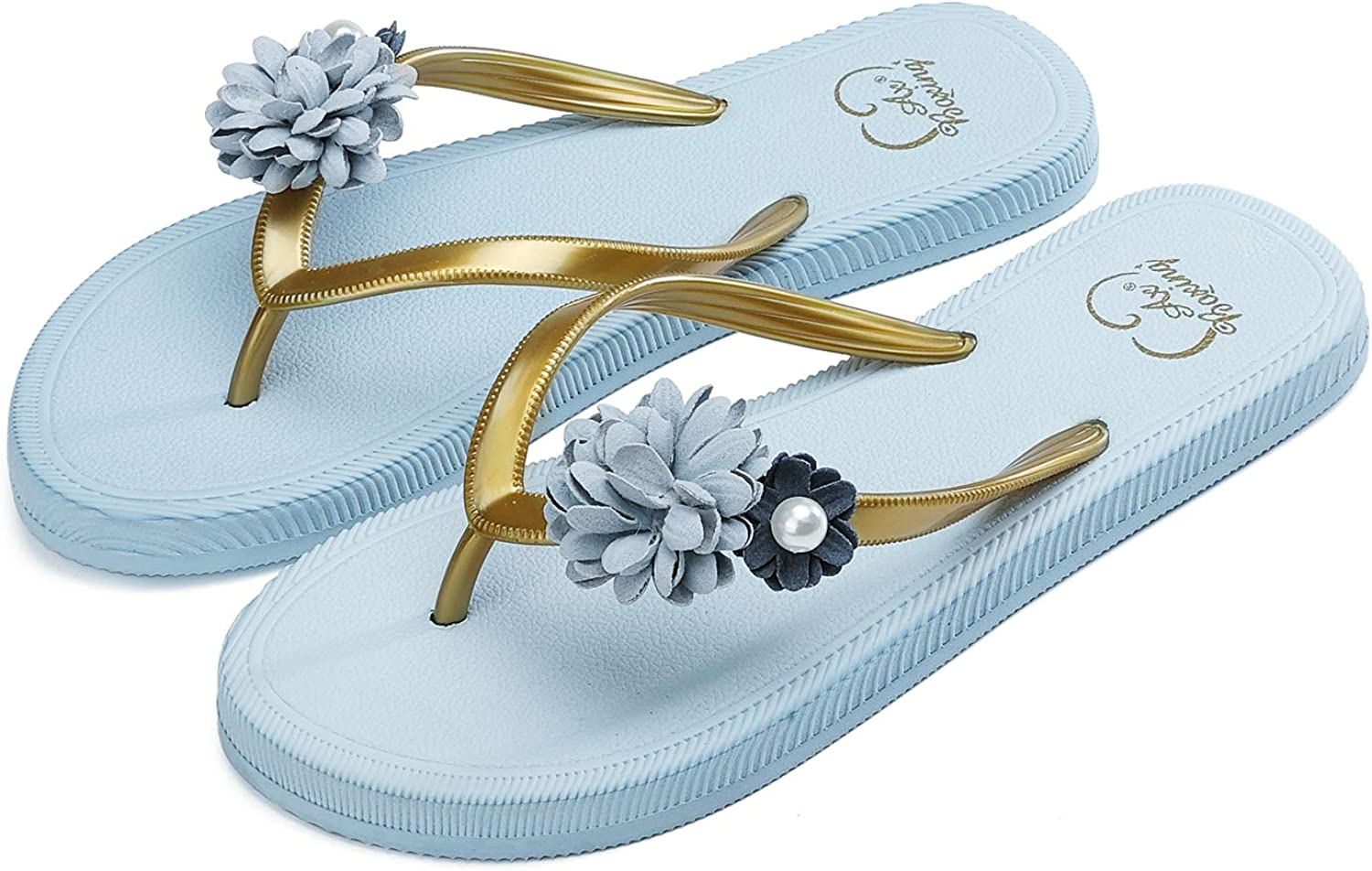 AX BOXING Womens Flip Flops Delicate Flower Decoration Sandals Slippers Lightweight Beach Pool Indoor Outdoor Size 4-7