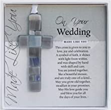 The Grandparent Gift Co. On Your Wedding, Made Like You Gray Boxed Poem Mosaic Glass Cross Ornament