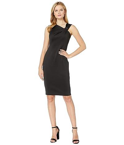 Calvin Klein Asymmetric Neck Sheath Dress (Black) Women