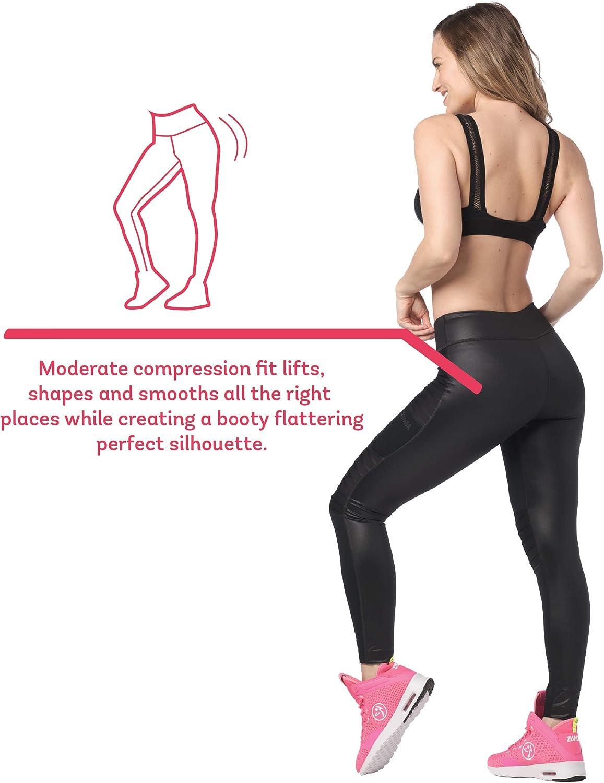 Zumba Fitness Print Legging de Sport Femme Workout Large Waistband Elastique Sport Pantalon Bold Black 2