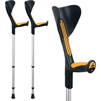 ORTONYX Forearm Crutches 1 Pair - Ergonomic Handle with Comfy Grip - High Density Sturdy Aluminum - 308lb Max / 200916