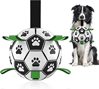 Dog Soccer Ball with Grab Tabs, Interactive Dog Toys for Tug of War, Dog Tug Toy, Dog Water Toy, Durable Dog Balls for Sma...