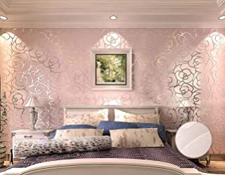 QIHANG High-Grade Rose Flower Pattern Thick Flocking Embossed Textured Wallpaper Roll Pink Color 0.53m10m=5.3㎡