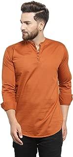 Pacman Brown Slim Fit Kurta Styled Casual Mens Cotton Shirt SHFS0097