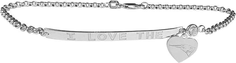 "NFL New England Patriots Sterling Silver Silver I Love Bracelet, 7.5"""