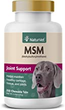 NaturVet – MSM (Methylsulfonylmethane) Joint Support For Dogs – 250 Chewable Tabs – Supports Healthy Cartilage, Tissue & Joint Flexibility