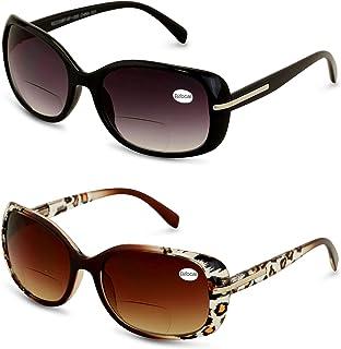 2 Pairs Women's Bifocals Reading Sunglasses Reader Glasses Vintage Outdoor Black and Leopard