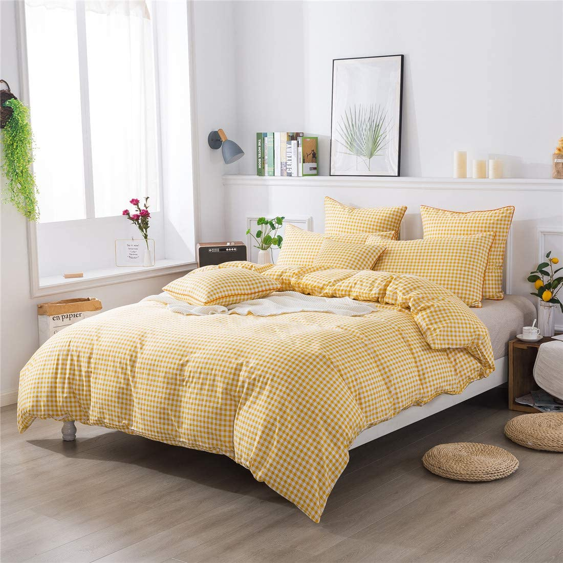 FADFAY Yellow Plaid Duvet Cover Set Queen 100% Cotton Hypoallergenic Grid Bedding Reversible Gingham Geometric Checker Bedding Set with Zipper Closure 3Pcs