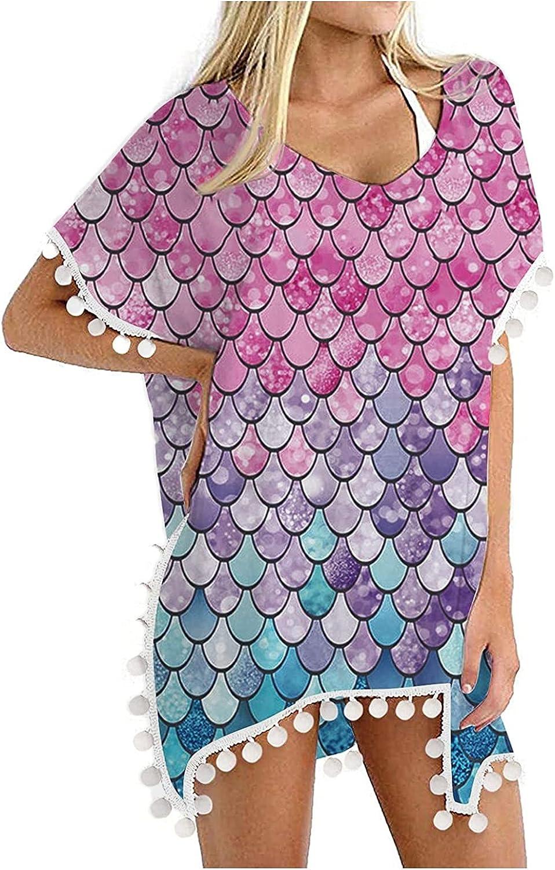 FORUU Women's Beach Cover Ups 2021 Summer Swimsuit Cover Up Trim Kaftan Chiffon Tassels Beach Bikini Cover Up Tops