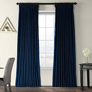 Half Price Drapes VPCH-VET1215-96 Signature Doublewide Blackout Velvet Curtain, Midnight Blue, 100 X 96