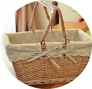 Wicker Picnic Basket Fruit Storage Basket with Folding Handle Snacks Willow Picnic Basket Hamper Vintage Oval Storage Basket,rectanguler,38X28X18CM