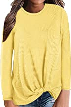 ZEFOTIM Blouse Long Sleeve Shirt, 2019 Womens Casual Long Sleeve Knot Waffle Knit Tunic Blouse Cute Shirts Tops