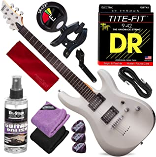 Schecter 432 C-6 Deluxe Solid-Body Electric Guitar (Satin White) with Clip-On Tuner and Accessory Bundle