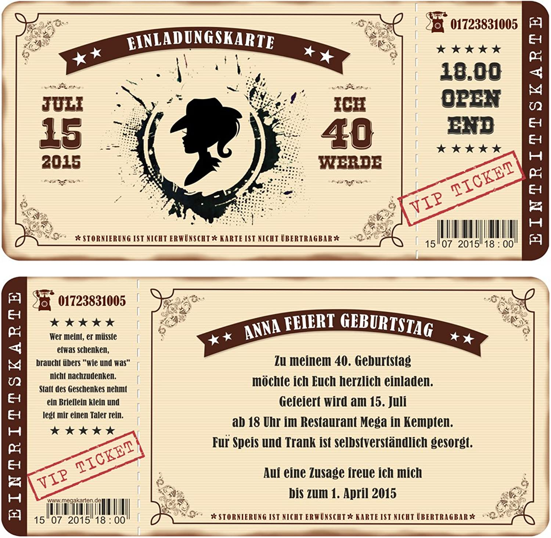 Einladungskarten zum Geburtstag als mit Abriss-Coupon im Country Style, Style, Style, Cowgirl 70 Stück B00WQ0K2KU  | Bestellung willkommen  6b4c5c