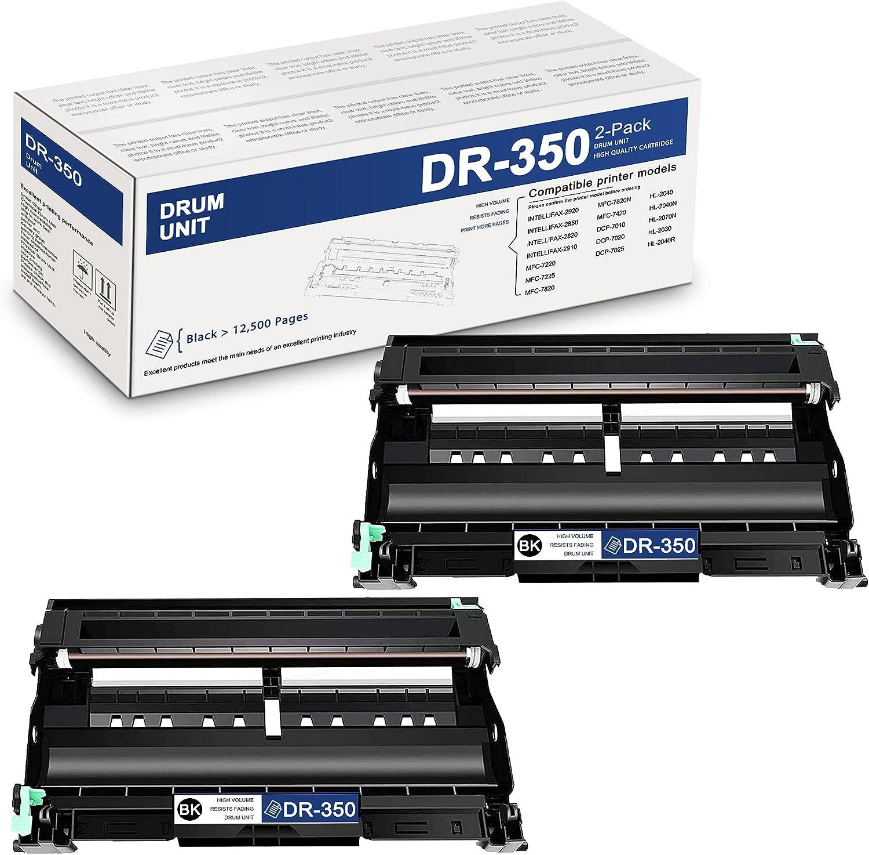 2PackBlackDR350DR-350CompatibleDrum UnitReplacementfor Brother DCP-7010 7025 IntelliFax 2820 2910 2920 2850 MFC-7220 HL-2040 2040N 2070N 2030 2040R Printer