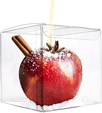 LOKQING 30 Pcs Candy Apple Box with Hole Top, PET Clear Box, Transparent Boxes, Clear Gift Boxes for Caramel Apples