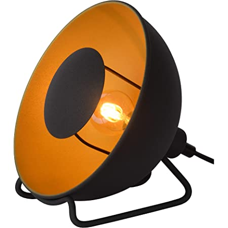 Lucide 05530/20/30 Lampe de table, Acier, 25 W, Noir, Or Mat