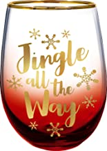 Spoontiques Jingle All the Way Stemless Glass, 20 ounces, Red