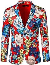Mens Floral Flower Print Suit Lapel Slim Fit Stylish Blazer Coat Pocket Jacket
