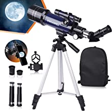 USCAMEL Telescope for Kids and Beginners,70mm Aperture Astronomy Telescopes with Cellphone...