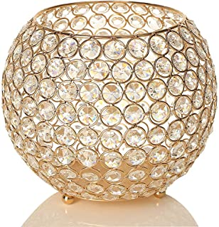 VINCIGANT Gold Crystal Bowl Candle Holders Centerpieces for Dining Room Table,Christmas Decoration Candelabra,Gift Boxed,8 Inches Diameter