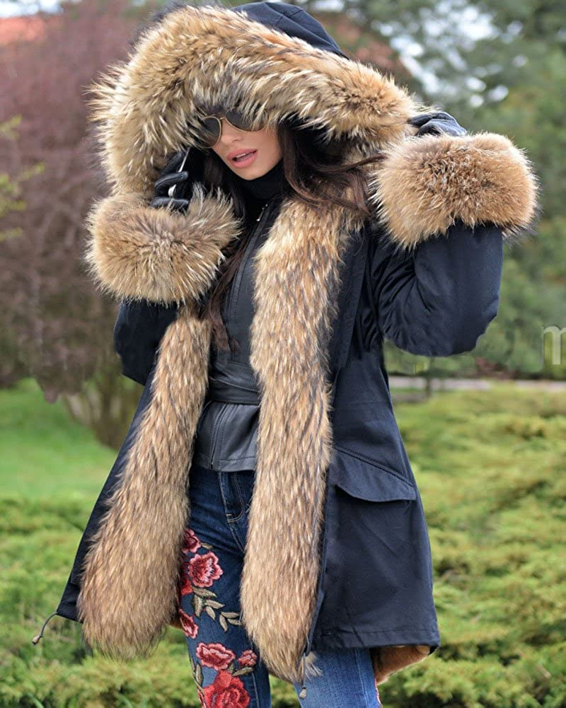 Aofur New Winter Jacket Women New Long Parka Coat Thick Faux Fur Casual Outwear Military Hooded Warm Fur Coat