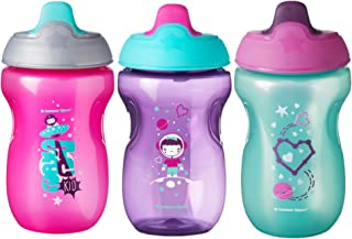 Tommee Tippee Non-Spill Toddler Sippee Cup, 9+ Months, 10 Oz, 3 Count, Girl, Pink/Purple
