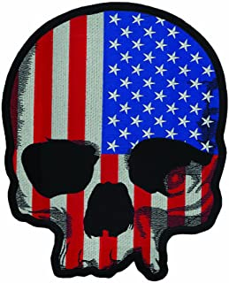 """Lethal Threat (LT30180 USA Flag Skull LG Embroidered Patch (11"""" x 11"""")"""