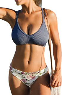 Women's Blue Top with Floral Lace Up Bikini Sets