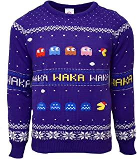 Official Pac-Man Christmas Jumper/Ugly Sweater - UK 3XL/US 2XL Blue