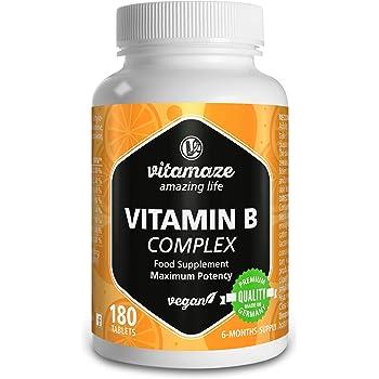 Vitamaze® Vitamina B Complex Alto Dosaggio, 180 Compresse Vegan 6 Mesi di Assunzione, B1, B2, B3, B5, B6, B7, B9, B12 Pura, Qualità Tedesca, Integratore Alimentare senza Additivi non Necessari