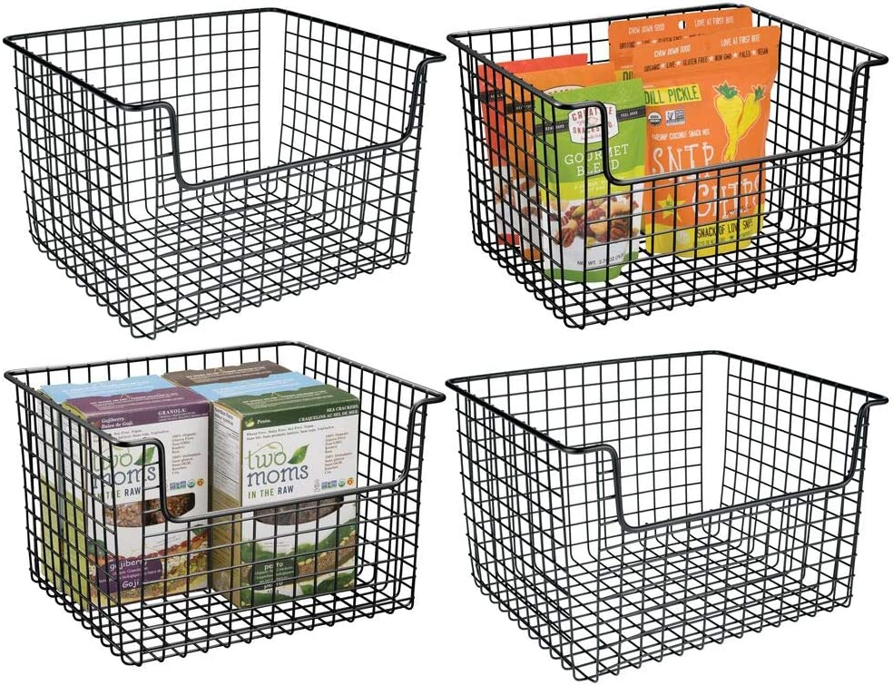 Buy Mdesign Metal Kitchen Pantry Food Storage Organizer Basket Farmhouse Grid Design With Open Front For Cabinets Cupboards Shelves Holds Potatoes Onions Fruit 4 Pack Black Online In Indonesia B081tgg4k6