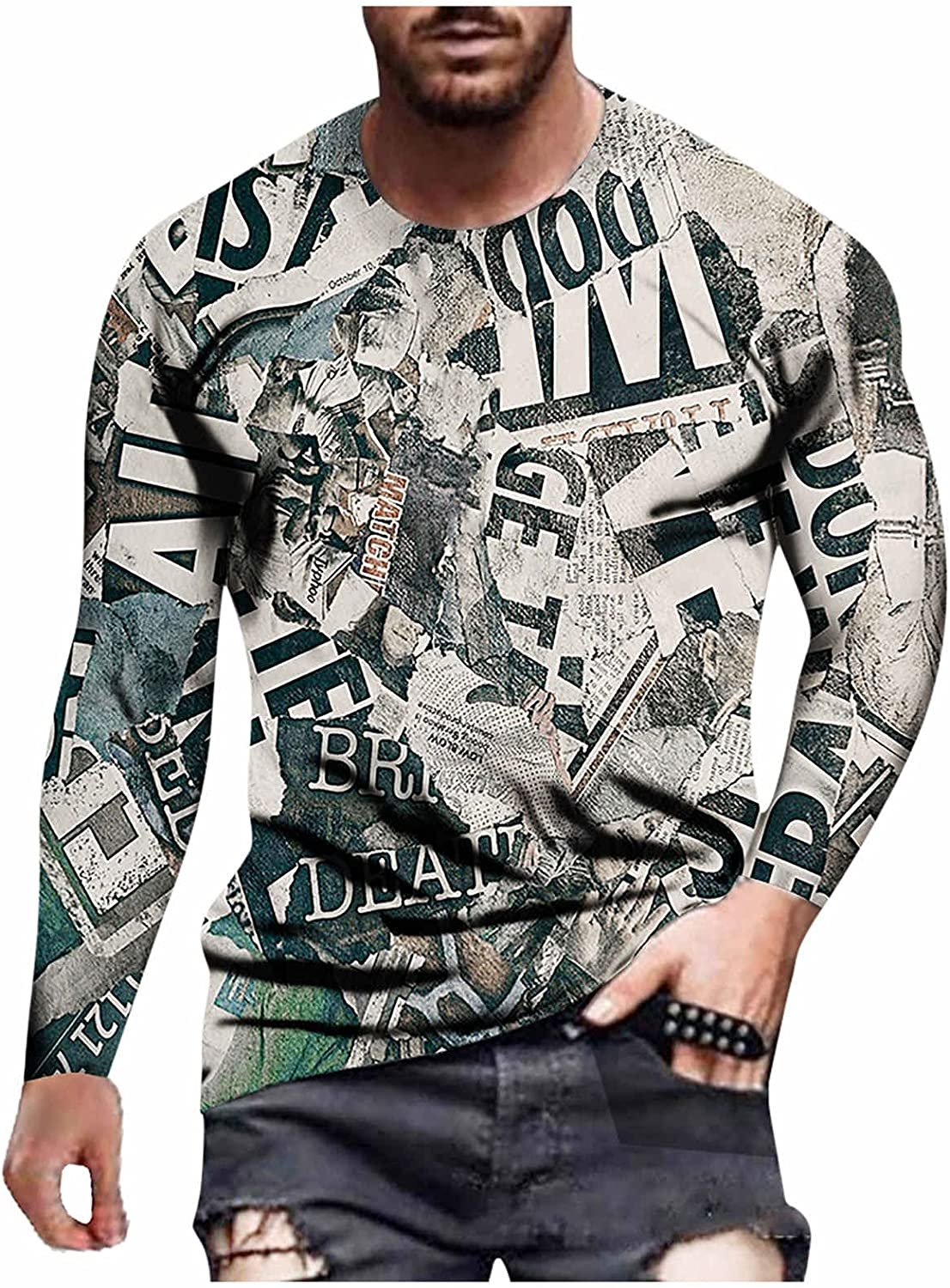 FORUU Men's Long Sleeve Shirts 2021,Casual Graphic Tees Fashion Cross Print Tops Round Neck Pullover Funny Tee Shirt