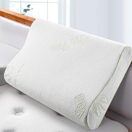 BedStory Almohada Viscoelastica Gel 60x40cm Almohada Cervical con Funda de Aloe Vera y Lavable 1 Pack en Forma Ergonomica Almohada para Dormir Adecuada para Todas Posicións