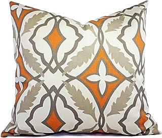 565pir - Funda de cojín decorativa naranja y beige, cojín decorativo naranja con flores, color naranja y naranja