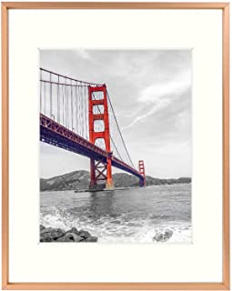Frametory, 11x14 Aluminum Rose Gold Photo Frame with Ivory Color Mat for 8x10 Picture & Real Glass, Metal Picture Frame Co...
