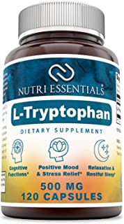 Sponsored Ad - Nutri Essentials L-Tryptophan Dietary Supplement - Natural Sleep Aid Supplements with 500 mg of Free Form L...