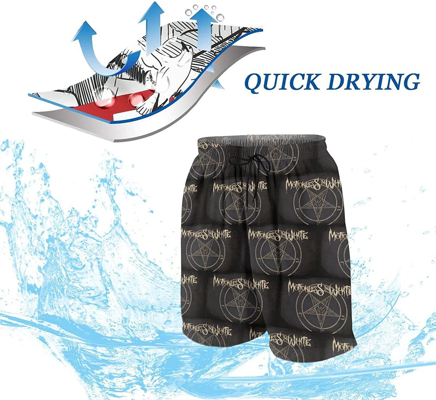 Goomix Motionless-in-White Boys Teens Swim Trunks Quick Dry Waterproof Surfing Board Shorts Drawstring Elastic Waist with