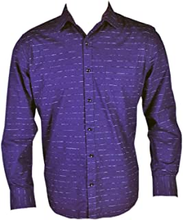 Spanish One Look Men Casual 100% Cotton Shirt in Blue self Jacquard Print