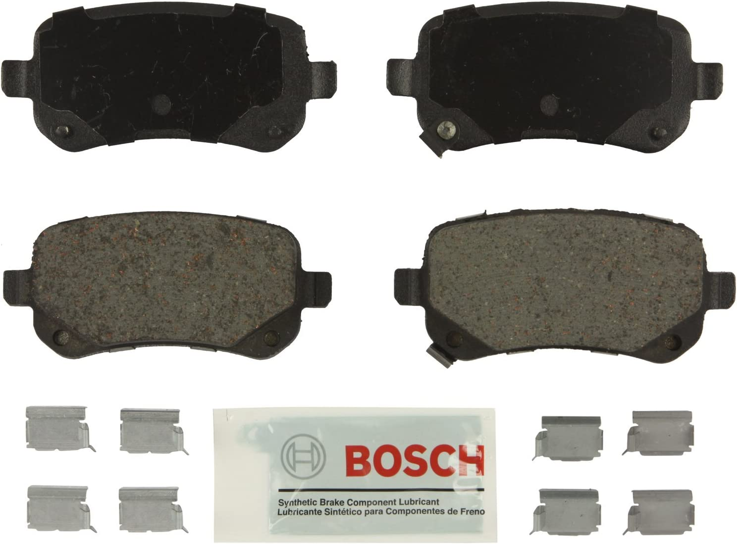 Bosch BE1326H Blue Disc Brake Pad Set with Hardware for Select Chrysler, Dodge, Ram, and Volkswagen Vehicles - REAR