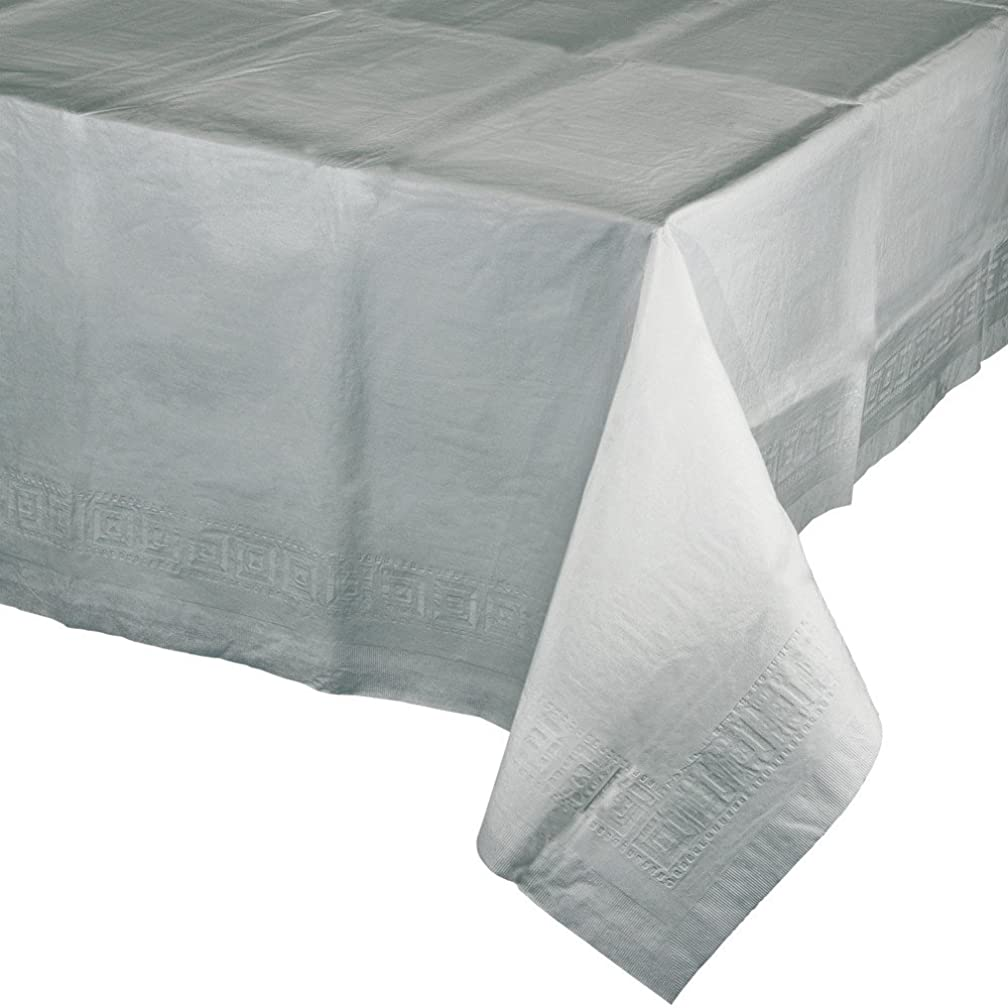 Creative Converting 6-Count Paper Banquet Table Covers, Shimmering Silver