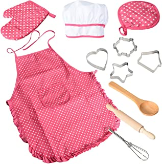 Acekid Chef Set for Kids,11pcs Kitchen Costume Role Play Kits, Girls Apron with Chef Hat,Cooking Mitt and Cookie Cutters (...