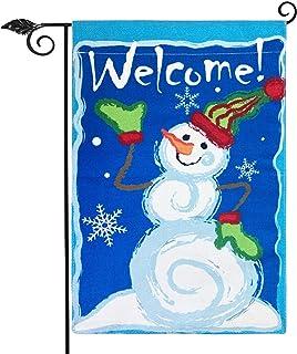 Winter Snowman Garden Flag Vertical Double Sided 12.5 x 18 Inch Farmhouse Winter Holidays Christmas Burlap Yard Outdoor De...