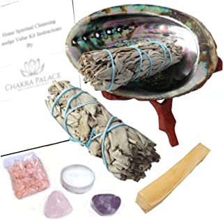 Chakra Palace Large Smudge Kit Gift Set, Abalone, Wood Stand, Sage, Palo Santo, Amethyst - 10 Items