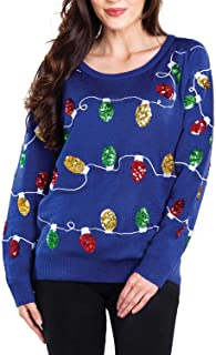 Tipsy Elves Sequined Ugly Christmas Sweater for Women Christmas Lights Cute Lady's Holiday Decorations Blue Pullover