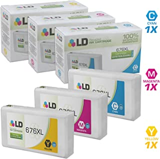 LD Remanufactured Ink Cartridge Replacement for Epson 676XL High Yield (Cyan, Magenta, Yellow, 3-Pack)