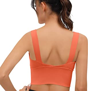 SIGNEALA Sports Bras for Women,Longline High Support Full Coverage Yoga Running Sports Bra Padded Crop Workout Tank Tops