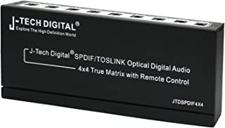 J-Tech Digital SPDIF/TOSLINK Optical Digital Audio 4x4 True Matrix with Remote Control